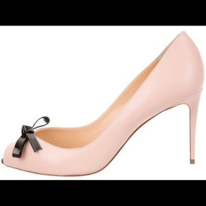 Louboutin Pink Leather Peep-Toe Pumps